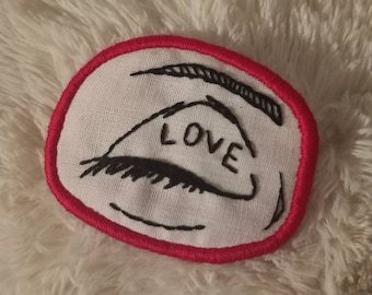 Indiana Jones gift - Eye Love You Embroidered Patch Ornament  Brooch