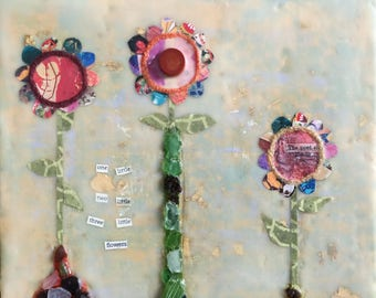 Original Mixed-Media: One Little, Two Little, Three Little Flowers