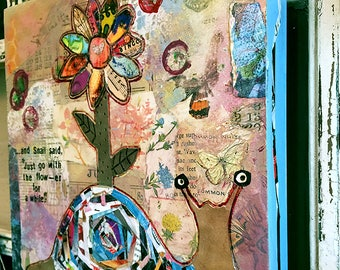 Original Mixed-Media: Snail Goes with the Flow - er