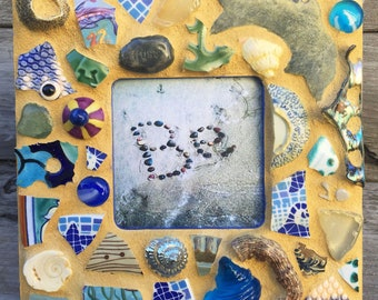 Be: Original 8 x 8 Mosaic Frame with Ocean Theme and Original Photo