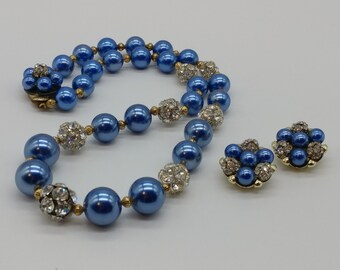 Vintage French Designer Orena Paris Double Pearl Rhinetone Rhondells and Blue Nugget Huge Necklace 33 long Heavy glass pearls Beautiful