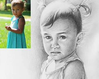Custom baby portrait kids portrait children portrait commission from photo Best personalized gift for family and friends Original hand drawn