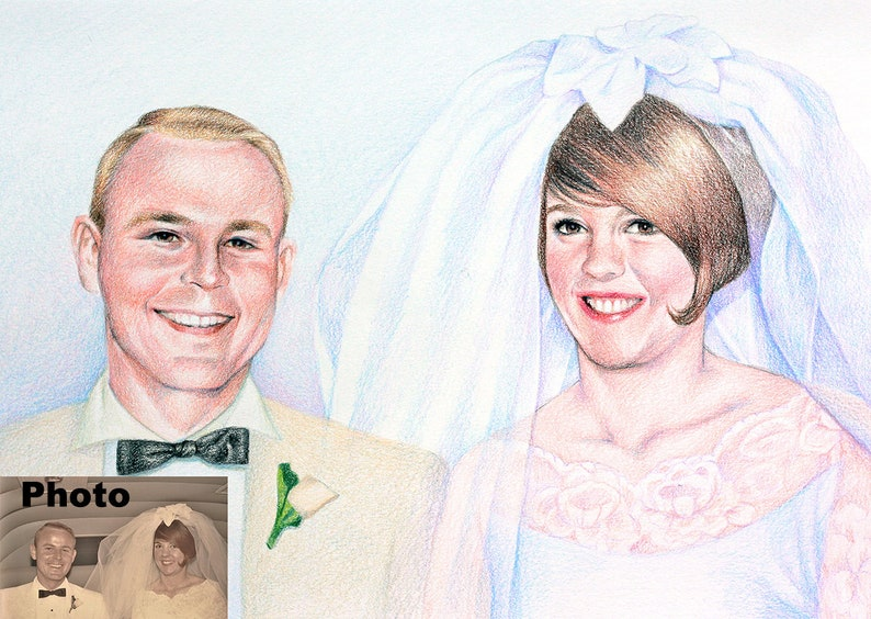 Custom colored pencil portrait commission from photo