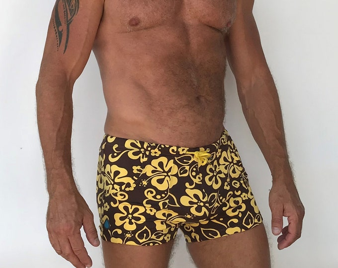 Featured listing image: Pocket Swim Short  Limited Edition Hibiscus Print Brown Yellow