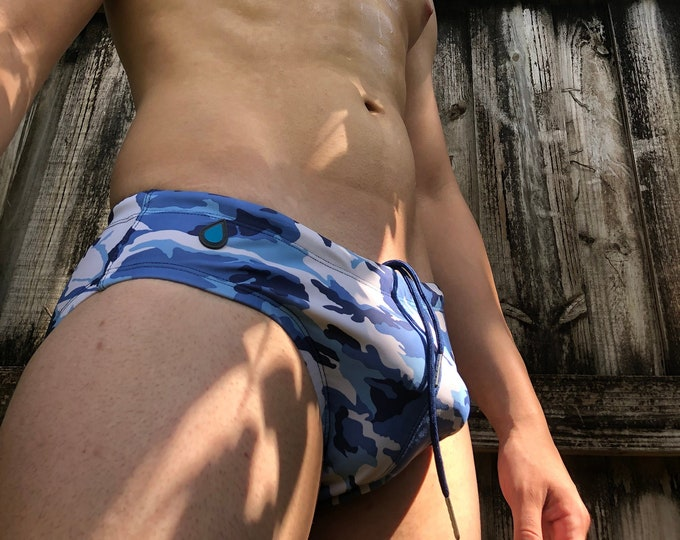Featured listing image: Blue Camouflage Limited Edition Print Racing Brief