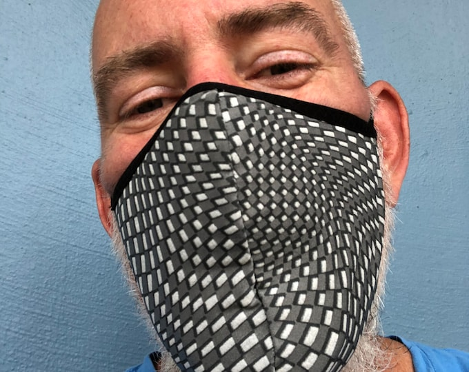 Featured listing image: Stretch Fabric Face Mask 4th Generation Limited  Edition Silver  TEXTURE   Print REVERSIBLE Grey