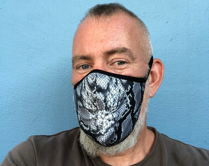 Featured listing image: Stretch Fabric Face Mask 4th Generation Limited  Edition Black Snakeskin  Print REVERSIBLE