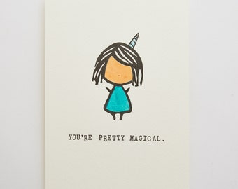"You're Pretty Magical 5"" x 7"" Letterpressed Unicorn Art Print"