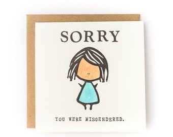 Sorry You Were Misgendered Letterpress Card