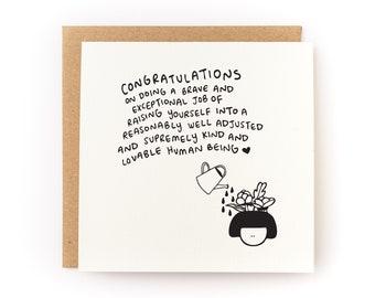 Congrats On Raising Yourself Letterpress Card