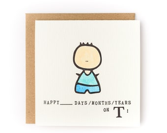 Happy X Days / Months / Years on T Letterpress LGBTQ Gender Transition Card