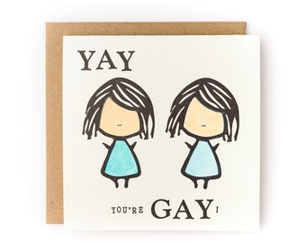 Yay You're Gay Letterpress Coming Out Card