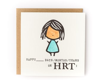 Happy X Days / Months / Years on HRT Letterpress LGBTQ Gender Transition Card