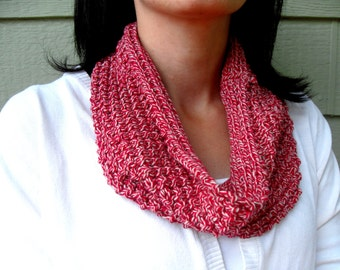 Knit Cowl Scarf - Red/ivory