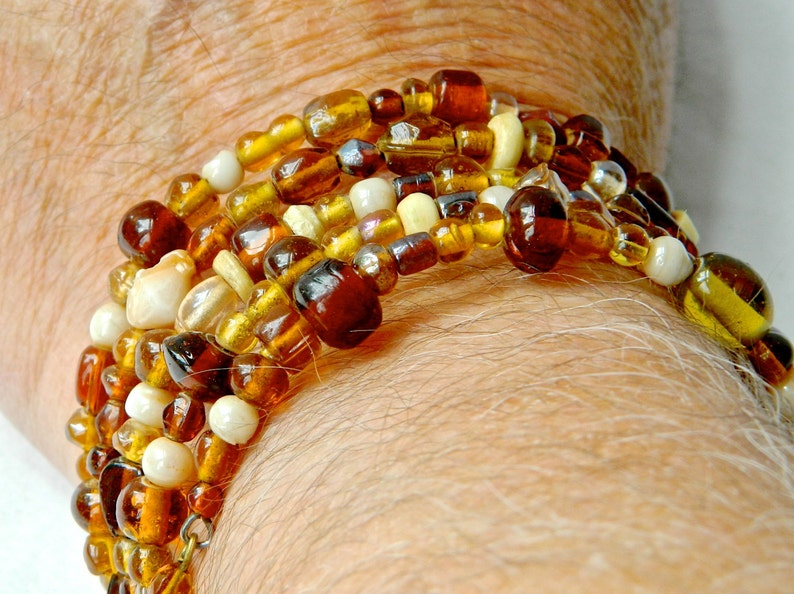 Vintage Necklace Bracelet Set Glass Amber Beads 5 Strand All Size Spring Cuff Hand Made Poured Glass and Bone Stunning Arty Look