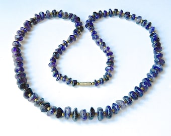 """Vintage 1970s Raw Amethyst Bead Necklace Dark Natural Tumbled Stones 28"""""""