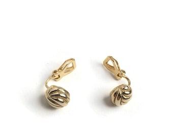 Dainty Gold Earrings   Clip On Earrings   Unused Vintage Earrings   Gift Under 15   Gold Plated   New Old Stock Earrings