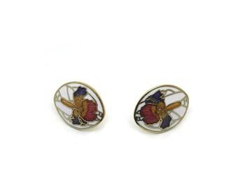 Floral Vintage Earrings   Unused   White And Gold Cloisonné Enamel Earrings   Iris Art Nouveau Flower Earrings   Pierced Ears   NOS