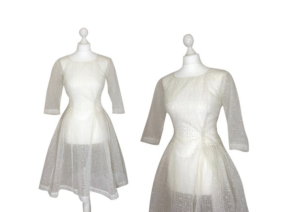 1950's Dress, Sheer Nylon Prom Or Wedding Dress, R