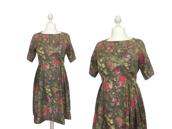 1950's Rose Print Dress | 44 Bust | Vintage Dress