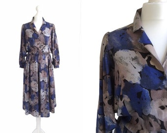 Blue Print Dress - 1990's Vintage Dress - 90's Floral Midi Dress - Shirt Dress - Deep Blue Watercolour Dress