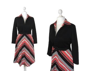 1970's Chevron Stripe Dress   70's Shirt Dress   Black, Red And White Striped Dress   Belted Dress   Zip Neck