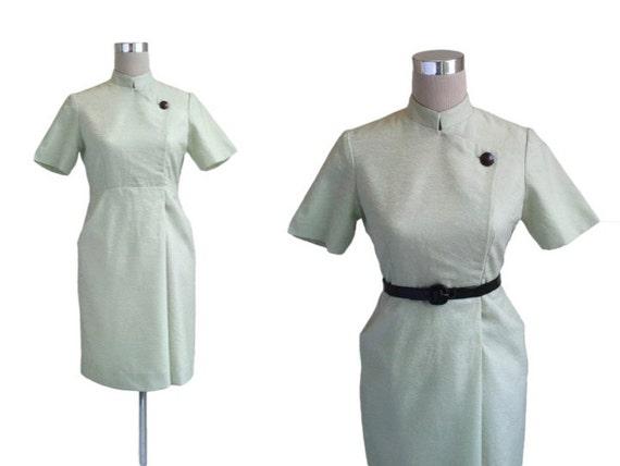 1960's Dress, Mint Green, Nehru Collar Dress