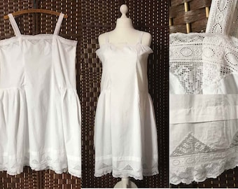 Antique 1920's Chemise or Under Slip in Soft White Cotton with Lace Panels and Side Pleats