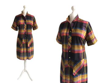 Vintage Tumbleweeds Dress - 60's Dress - Large - Vintage Shirt Dress - Madras Check Dress