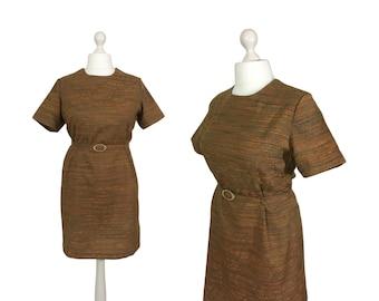 1960's Shift Dress   UK 16/18 Bust 40/42   60's Vintage Dress     Ginger Brown Dress With Belt