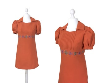 1960's Babydoll Dress   Salmon Red Crepe   Vintage 60's Mini Dress   Puff Sleeves   Embroidered Flowers Waistband