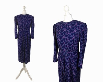 Vintage 80's Dress | Purple Floral Print Dress | Soft Rayon 80s Does 40s Dress | Med UK 14