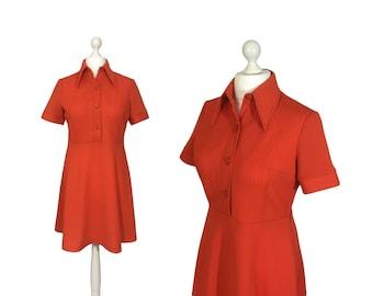 Red Mod Dress   UK 16 18   1970's Dress   70's Dress   Tomato Red Vintage Shirt Dress