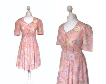 Floral Tea Dress   70s 80s   Pink Dress   Vintage Dress   Retro Summer Style