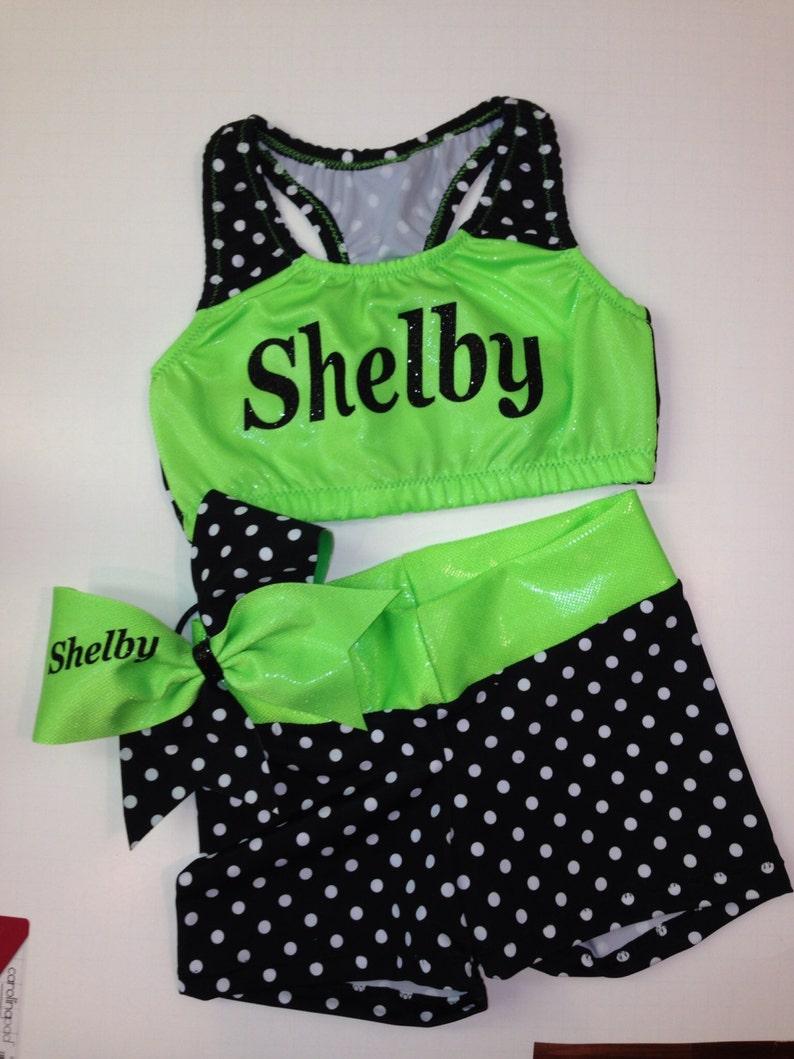 Neon green and black cheer practice wear