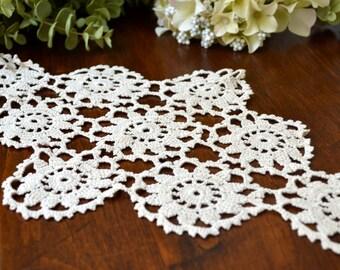 Vintage Ecru Hand Crochet Lace Doilie  3413