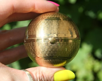 Pygmalion compact etsy rare vintage globe shape pygmalion powder compact with engine turned exterior gumiabroncs Gallery