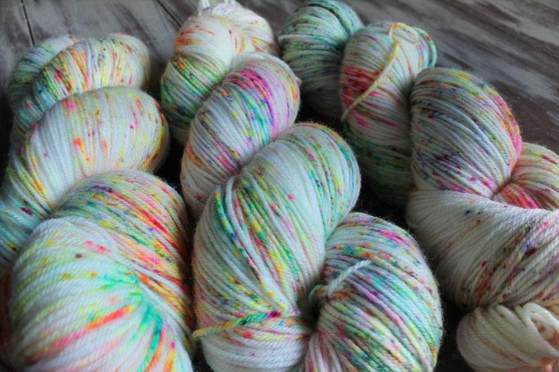 Beautiful Superwash MerinoNylon Sock yarn PurrMaid Base 4-ply Sock 437 yards Confetti Spaghetti