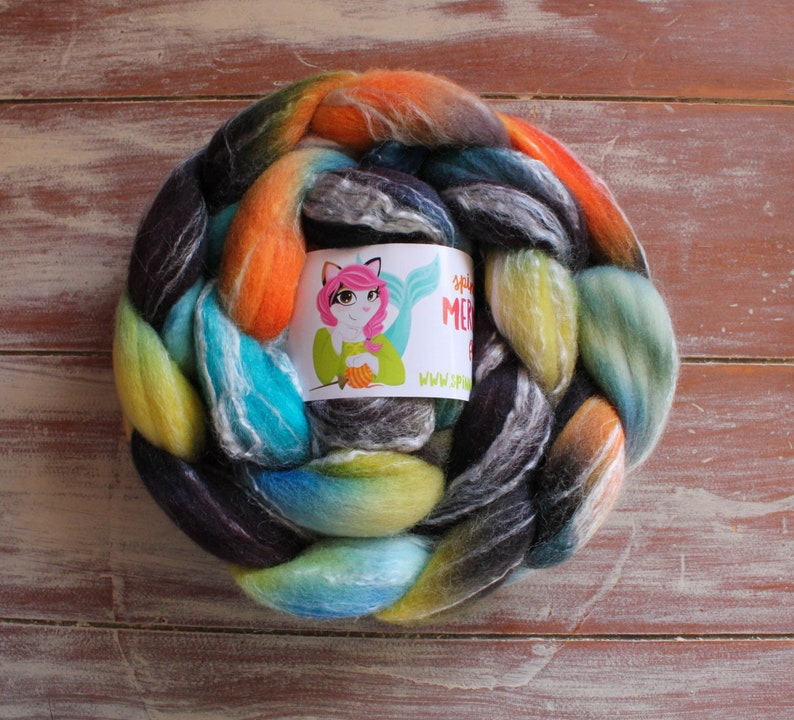 Merino Bamboo 'Race Car' 3.5-4.2 oz spinning roving by image 0