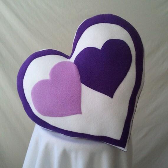 Valentine's Heart Pillow Two Purple