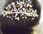 Entwined -  Freshwater Pearl & Crystal Goldtone Bridal Tiara