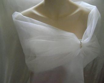Bridal Sheer Tulle Wrap / Shrug - White - Ivory - Cream - Blush Pink - New Navy Blue!  Sizes  6 - 24 Available!