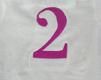 Embroidered number on shirt (shirt not supplied) 4 inch number