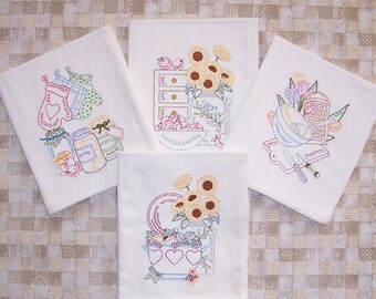 Embroidered Set of Kitchen with Sunflowers Designs Kitchen Towels