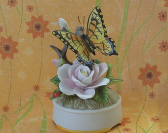 Vintage Yellow Monarch Swallowtail Butterfly Music Box