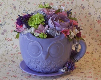 Colorful Floral Arrangement in a Periwinkle Oversized Teacup Planter with a Embossed Owl Design