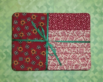 Shades of Dark Red Floral and Sunflower Fabric Small Mug Rug Set of 4 Coasters