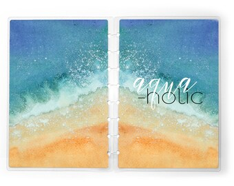 Planner Cover for use with Erin Condren Lifeplanners™, Staples Arc, The Happy Planner, TUL | Beach Summer | Aquaholic