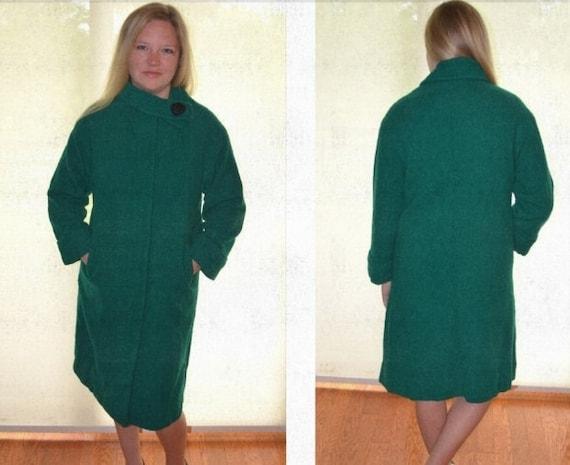 Women's Winter Coat,  Green Coat, Vintage Jacket,