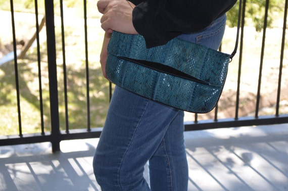 Snakeskin Purse, Snakeskin Clutch, Blue Purse, Jas